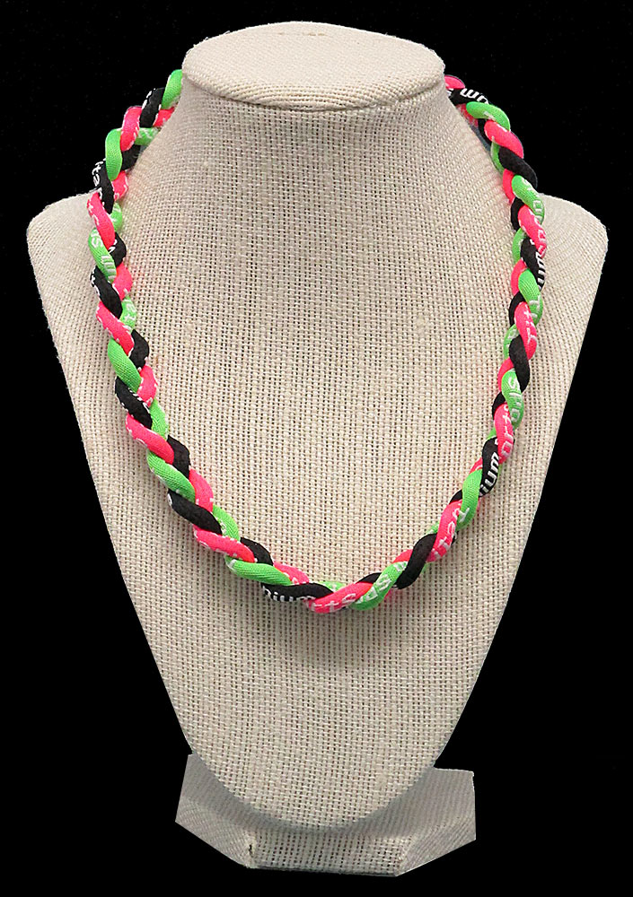 Rope Necklace - Neon Pink Black Neon Green