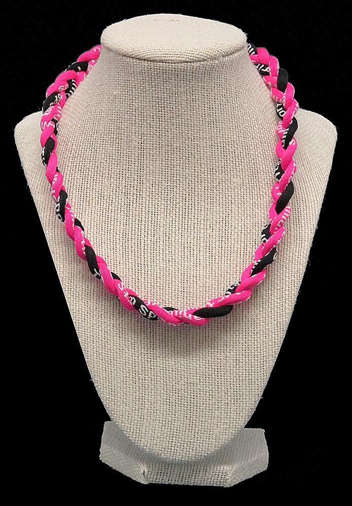 Rope Necklace - Neon Pink Black Neon Pink