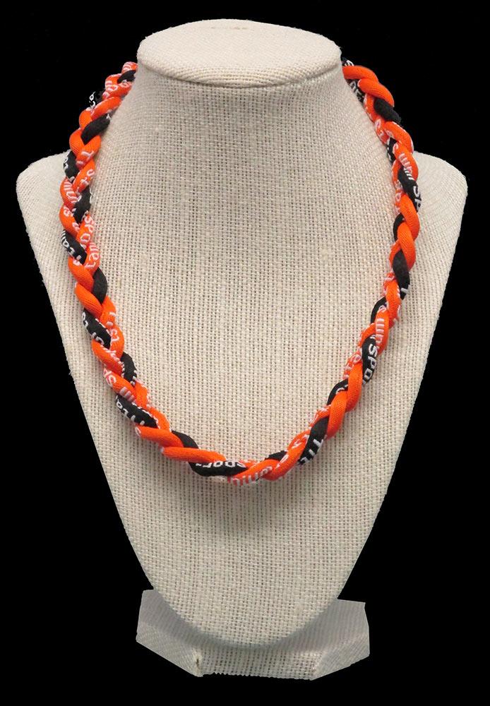 Rope Necklace - Orange Black Orange