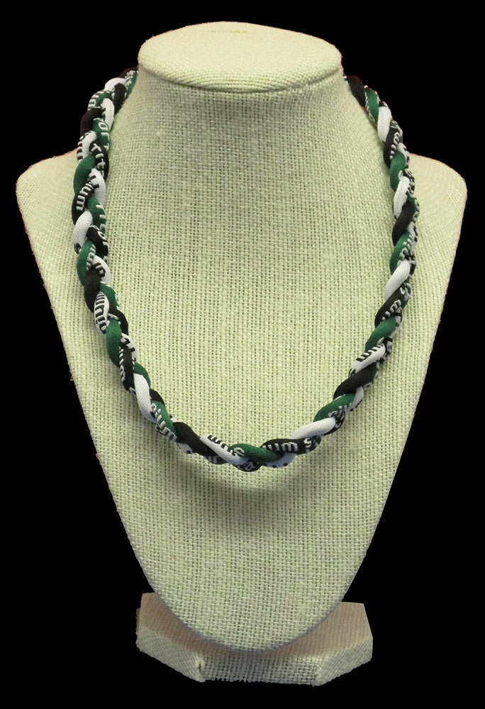 Rope Necklace - Deep Green White Black