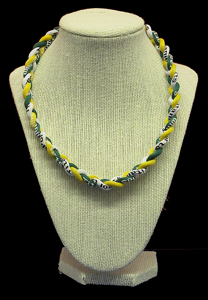 Rope Necklace - Deep Green White Yellow