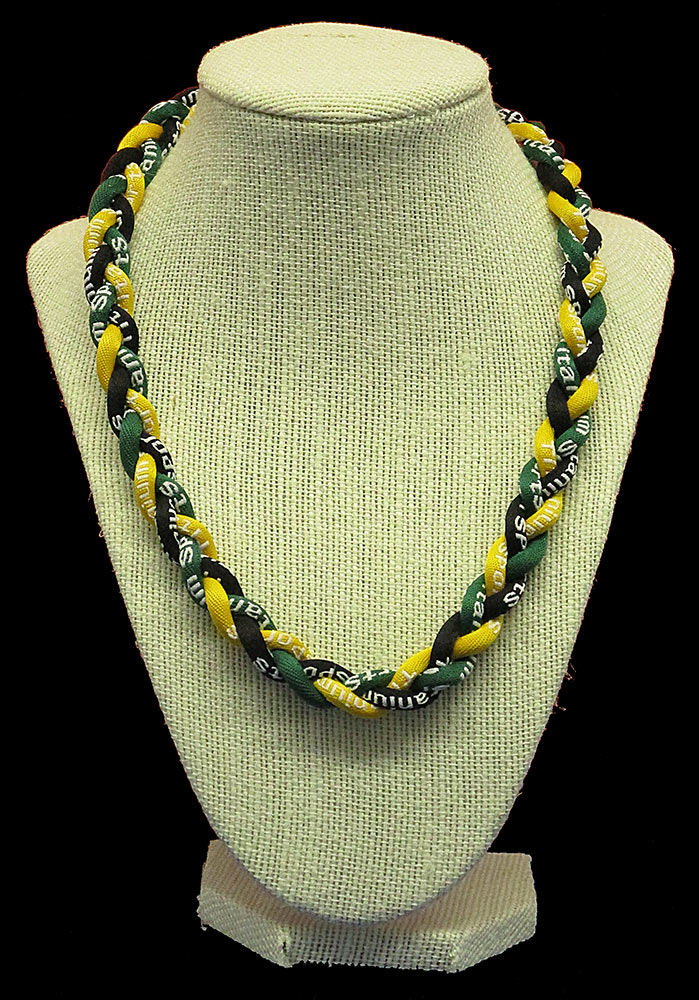 Rope Necklace - Deep Green Yellow Black