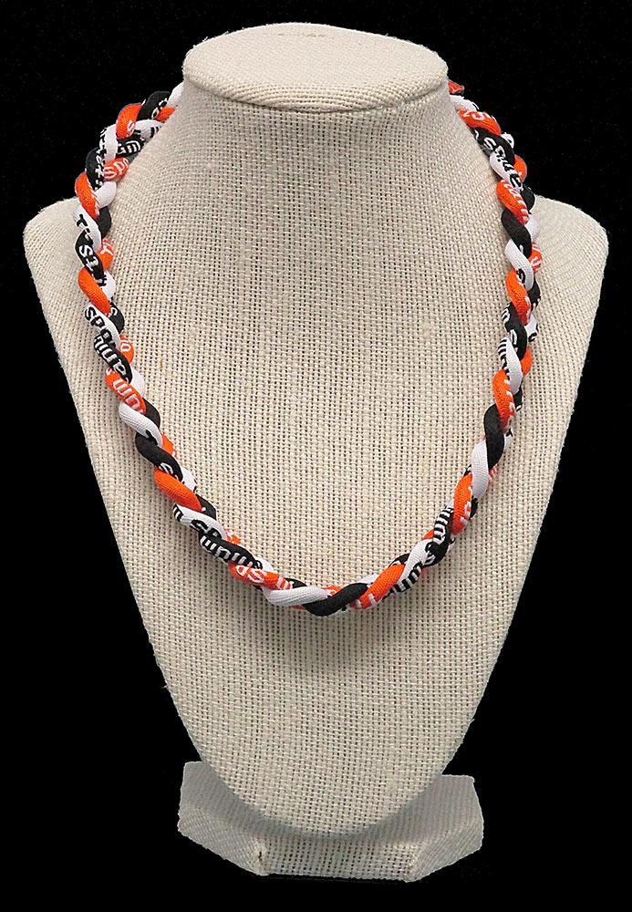 Rope Necklace - Orange White Black